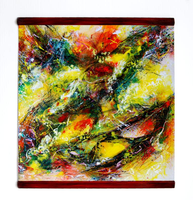 Kakejiku (scroll painting) Mixed Media on Fiber Art (Polymer-coated and Textile Fiber) 39 cm x 39 cm (15,3″ x 15,3