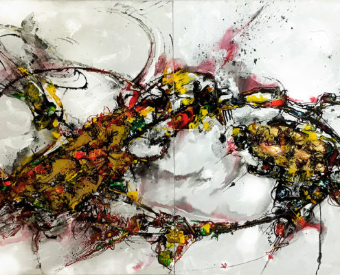 ON THE WATER Acrylic Mixed Media and Elastomeric Polymers on Canvas. 120cm x 240cm (Diptych). 2019. Andaman Contemporary Art Museum COLLECTION, Krabi, Thailand.
