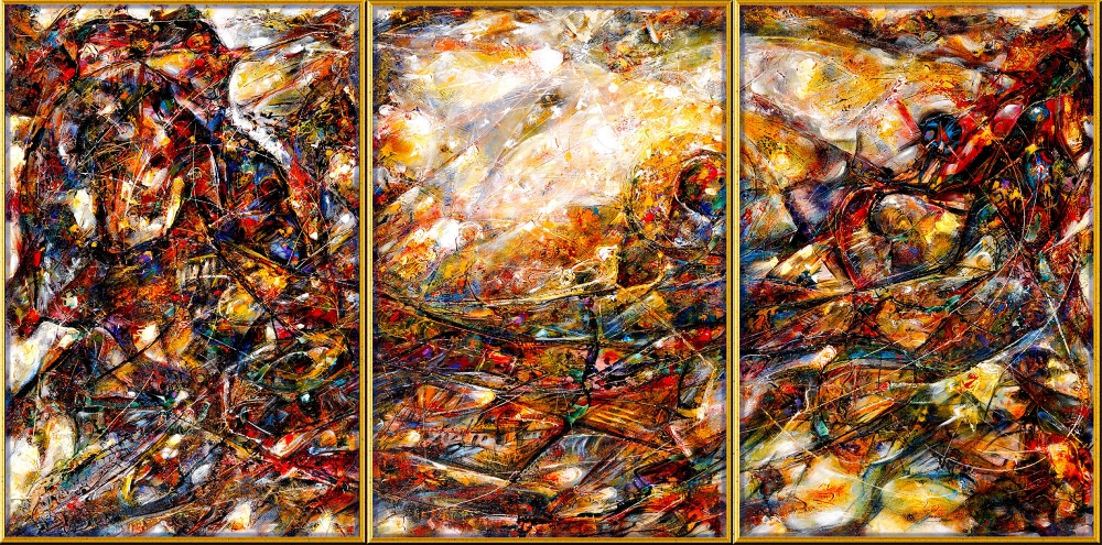 Planetary Dialogue Acrylic on Canvas (Triptych) 182.8 cm x 91.4 cm Olympic Fine Arts COLLECTION - 29TH Olympic Games, Tai Miao Museum, Beijing, China.