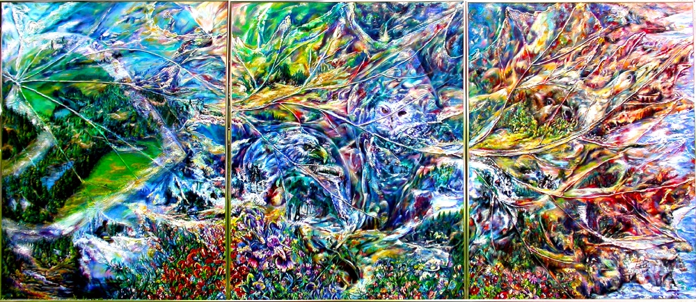 I Like to Ride Down My Trail Acrylic on Canvas (Triptych) 403.8 cm x 172.7 cm City Hall Longueuil COLLECTION, Longueuil, Quebec, Canada.