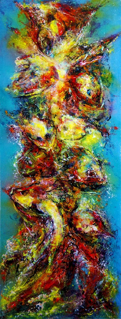 Kakejiku (scroll painting) Mixed Media on Fiber Art (Polymer-coated and Textile Fiber) 122 cm x 45 cm ( 48″ x 17.7″) 2016